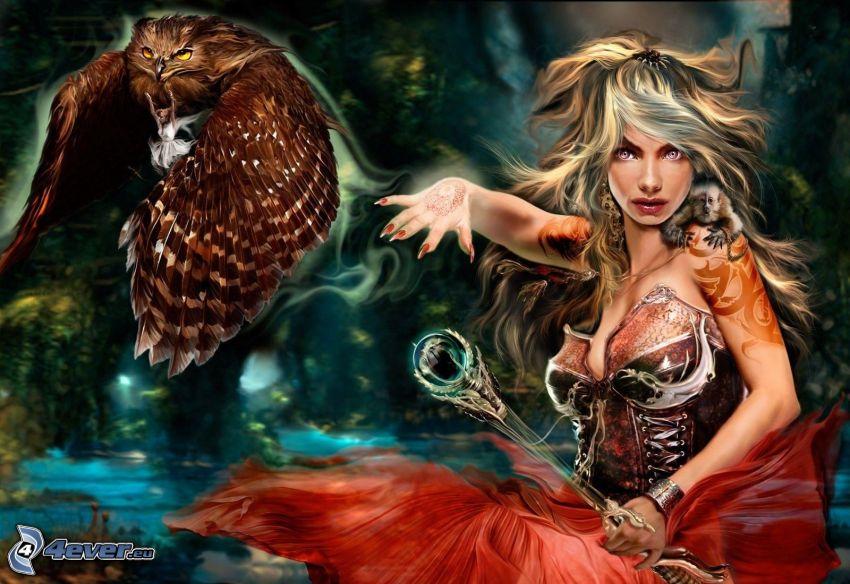 mujer fantástica, águila