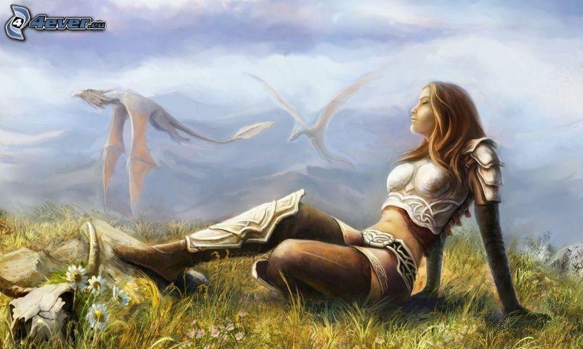 mujer fantástica, dragón volador