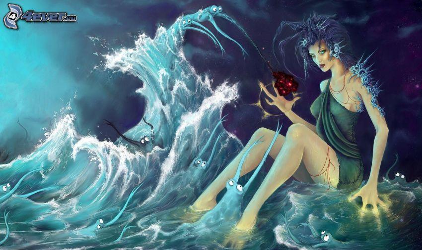 mujer fantástica, ondas, agua, criaturas
