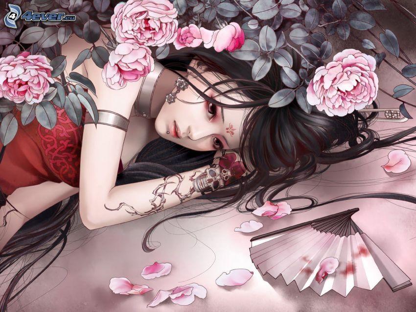 niña entre flores, abanico