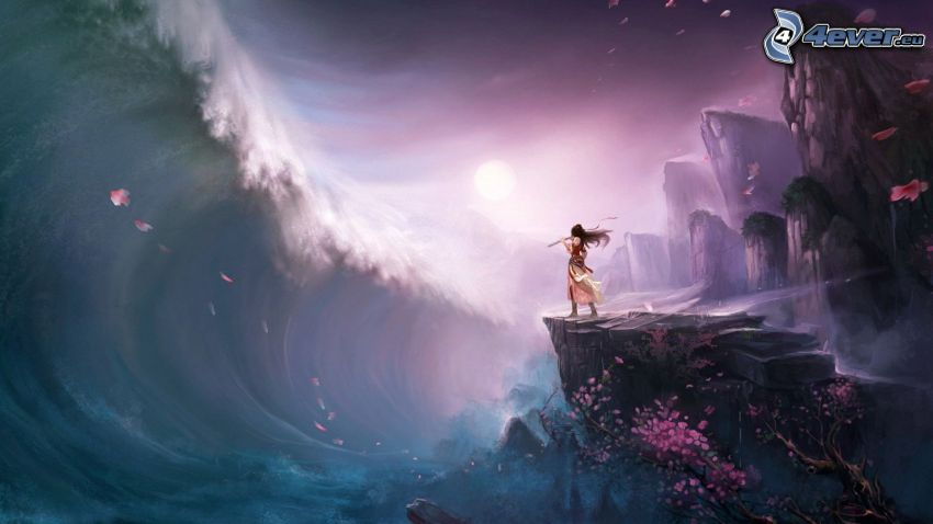 ola, rocas, paisaje de dibujos animados, caricatura de mujer