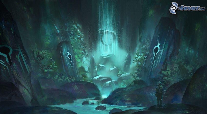 paisaje de dibujos animados, fantasía, cascada