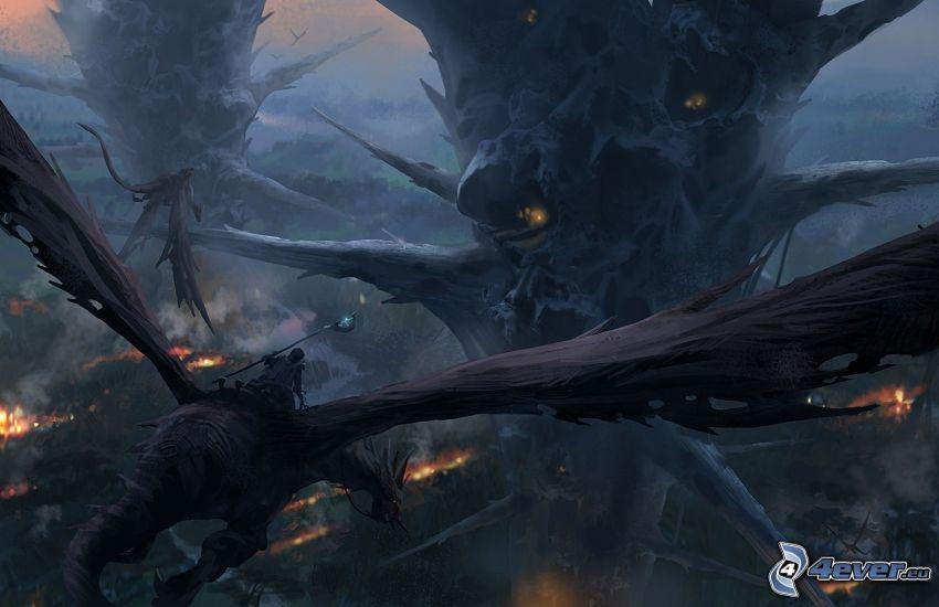 paisaje de dibujos animados, fantasía, dragón volador
