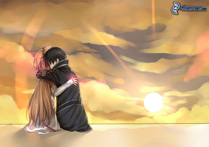 pareja, abrazar