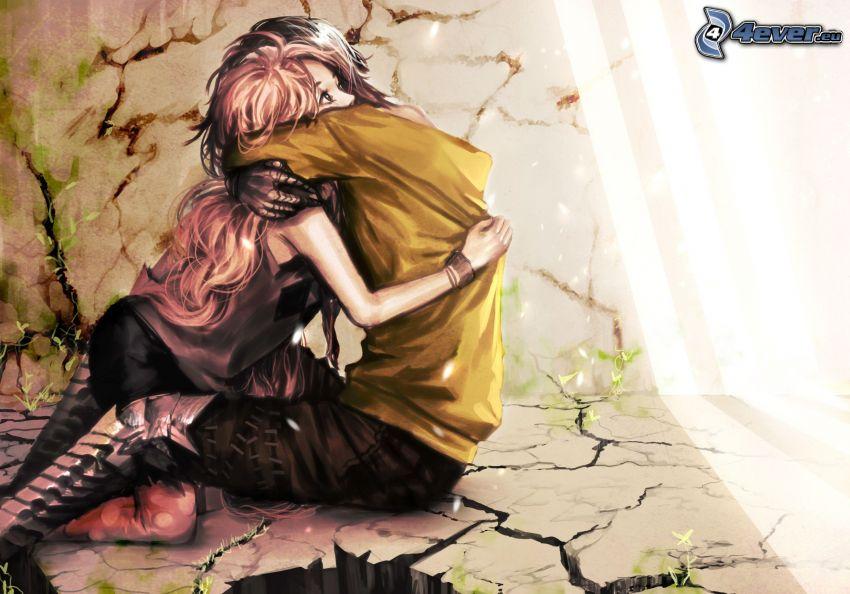 pareja anime, abrazar