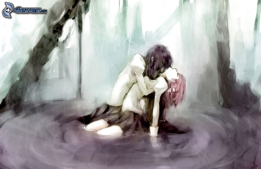 pareja anime, agua, abrazar