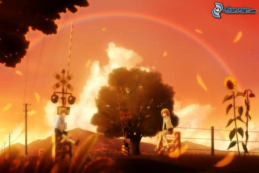 pareja anime, girasol, arco iris, cruce de tren
