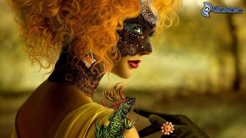 pelirroja, máscara, camaleón
