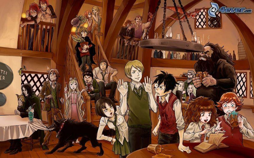 personajes de anime, bar