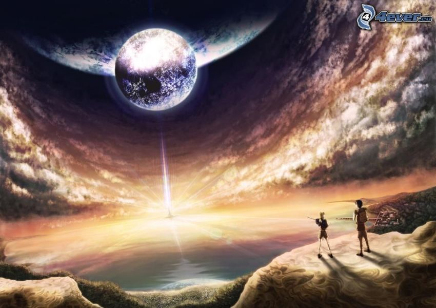 planeta, luz intensa, niño y niña