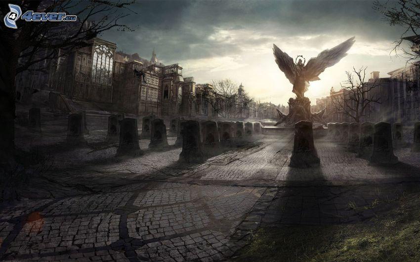 plaza, estatua de un ángel, cementerio, ciudad