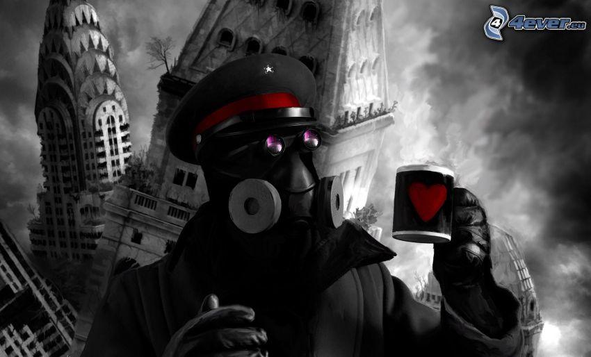 policía, taza, apocalipsis