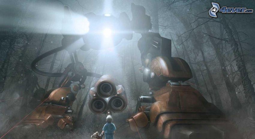 robot, luz, niño, oso de peluche