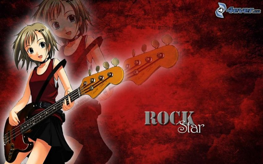 Rock Star, chica anime, chica con guitarra, guitarrista, Guitarra Eléctrica