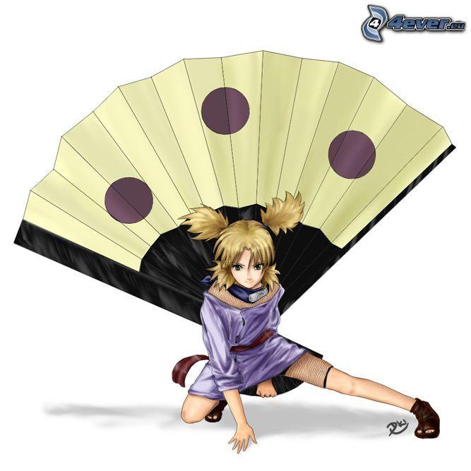 Temari, dibujos animados, anime, Naruto, abanico