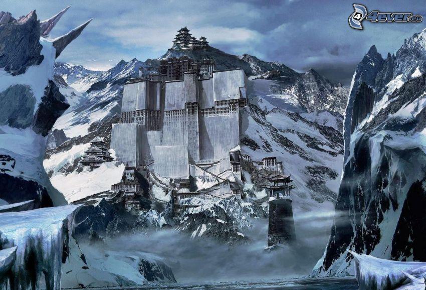 Tíbet, castillo, montaña rocosa, nieve, río