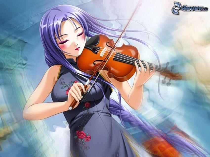 tocar el violín, violinista, chica anime