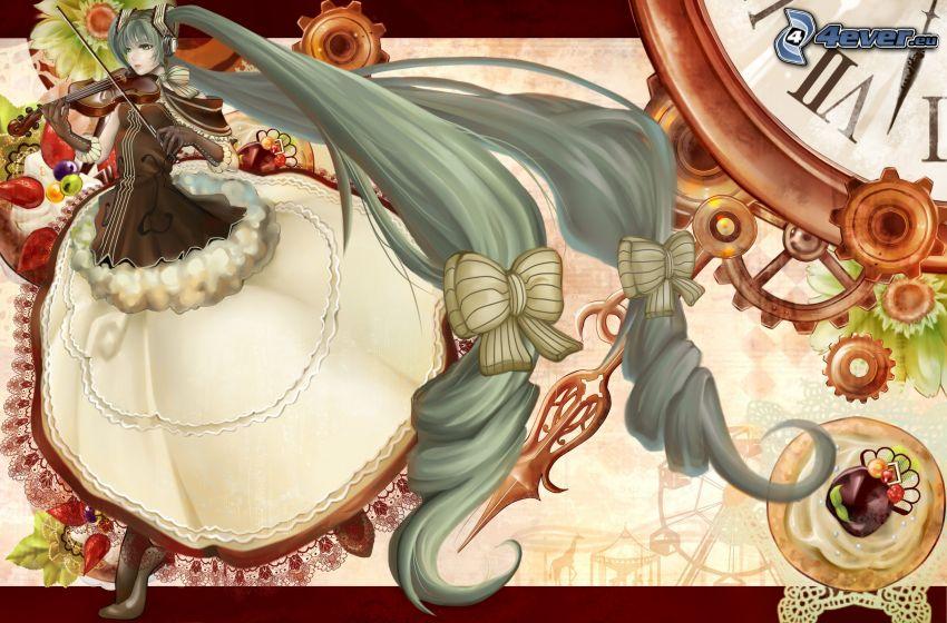 violinista, chica anime, pelo largo