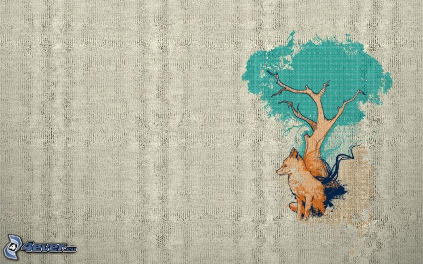 árbol, perro