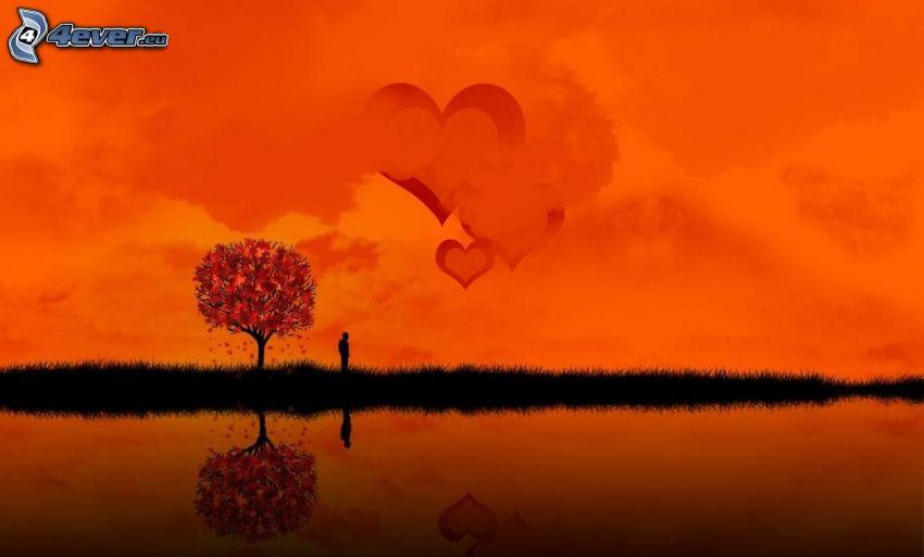 árbol, silueta de un hombre, corazones, puesta de sol anaranjada, lago, reflejo