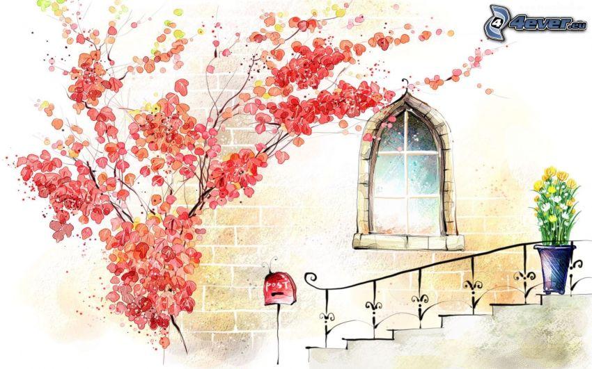 árbol florido, escalera, caja, ventana, tulipanes amarillos