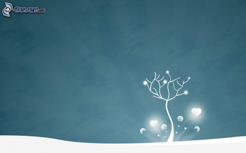 árbol solitario, corazones, nieve