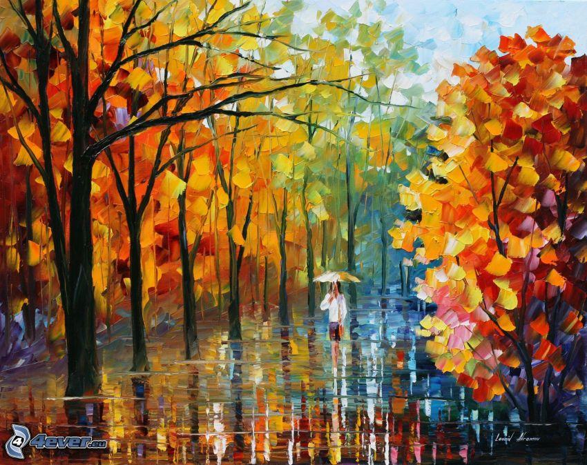 árboles, pintura, dibujo