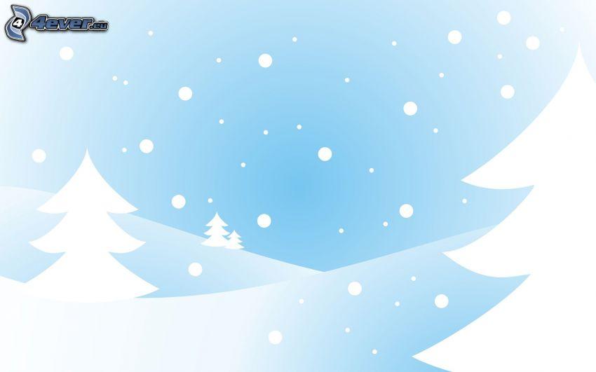 árboles coníferos, la nevada