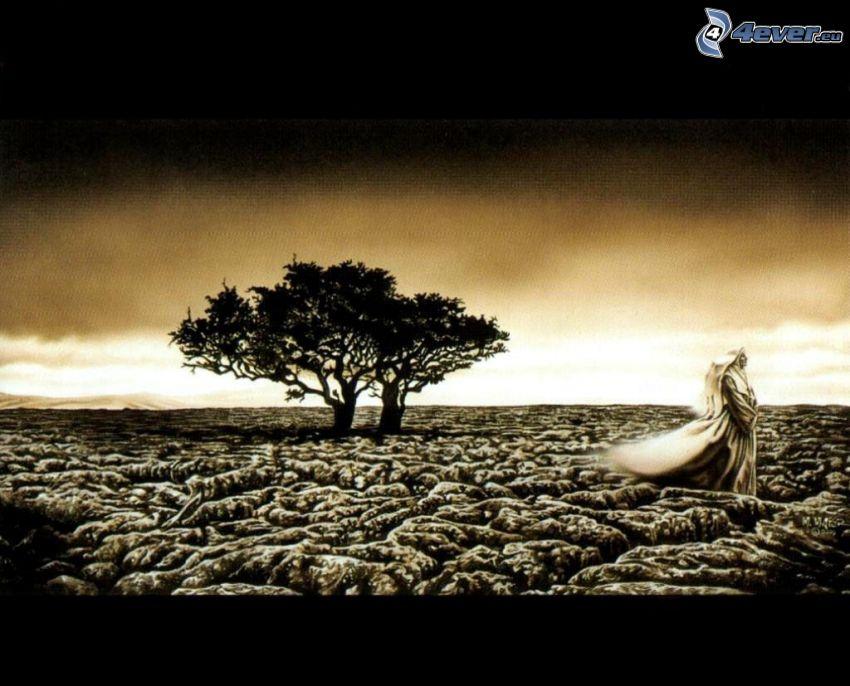 árboles solitarios, paisaje, hombre, tierra