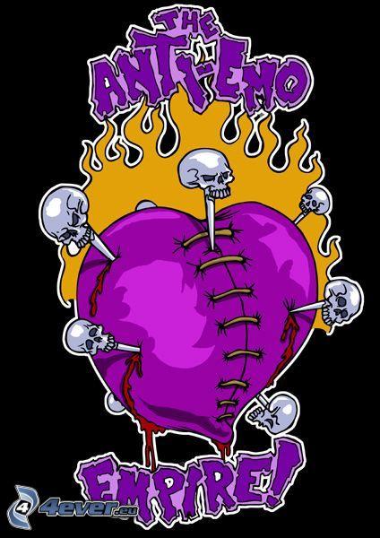 anti-emo empire, corazón púrpura, cráneos, sangre
