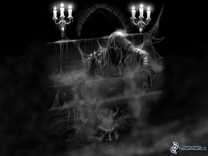 cadáver oscuro, ataúd, velas