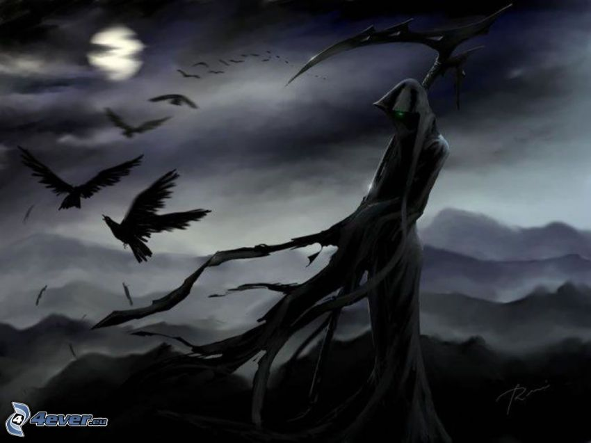 cadáver oscuro, corneja, Luna llena, guadaña, figura fantasmal