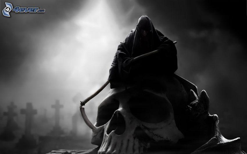 descarnada, cráneo, cementerio