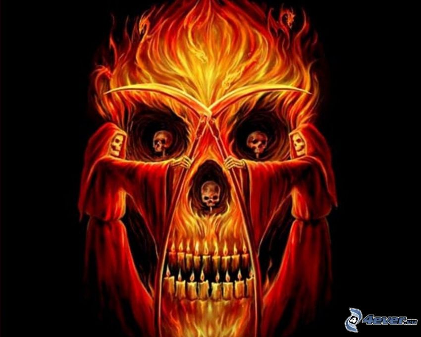 descarnada, cráneo, llama, fuego, mal, demonio