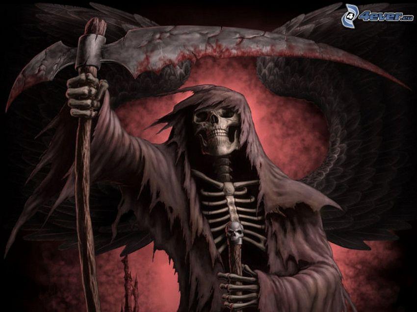 descarnada, esqueleto, guadaña