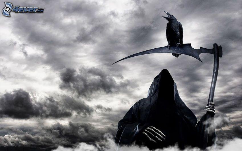 descarnada, guadaña, cuervo, nubes oscuras