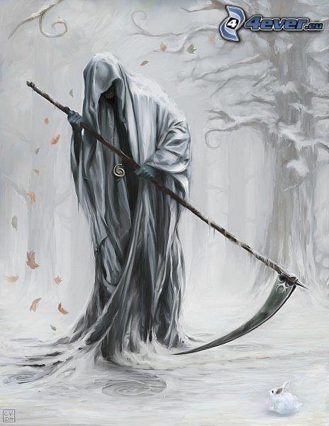 descarnada, guadaña, muerte, fin
