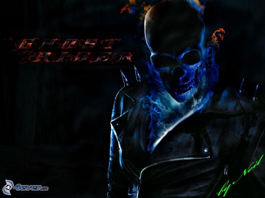 Ghost Rider, cráneo, chaqueta de cuero