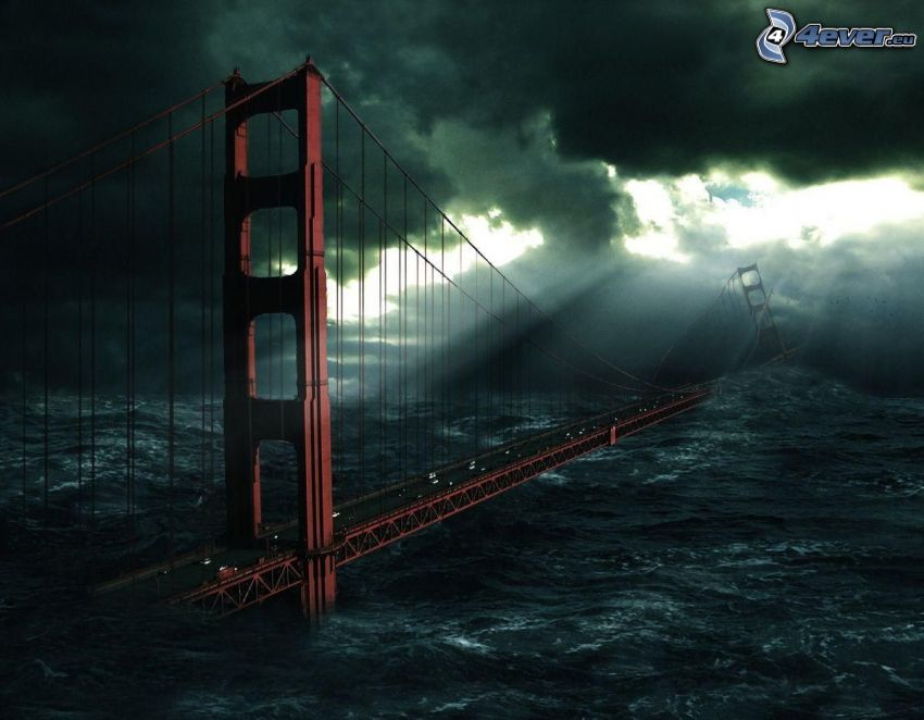 Golden Gate, puente destruído, tormenta, desastre