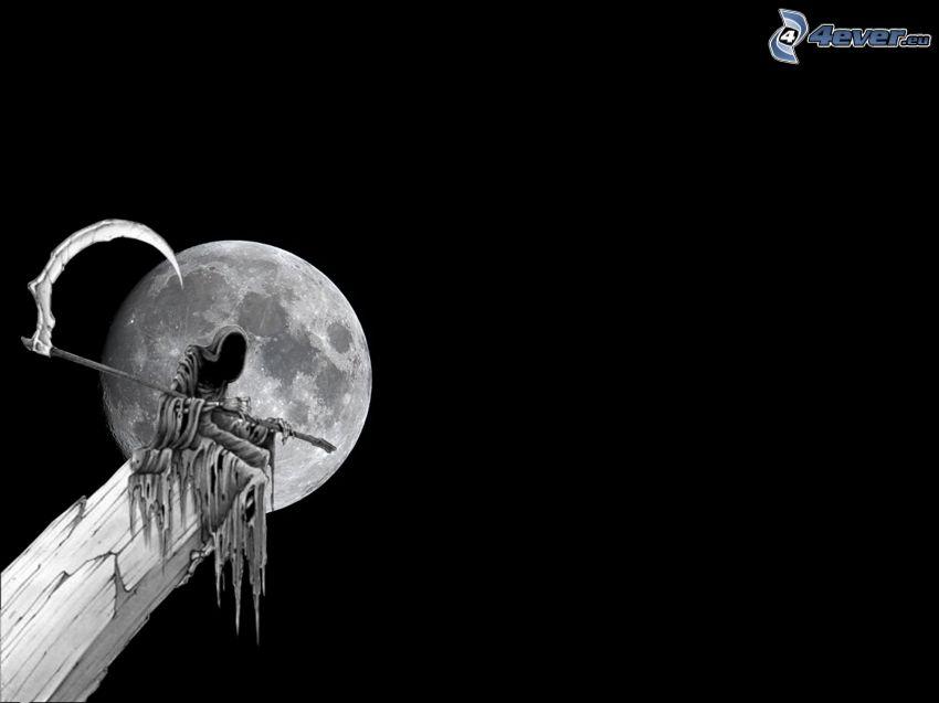 Grim Reaper, descarnada, muerte, Luna llena, guadaña
