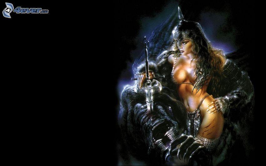 guerrera, mujer oscura, fantasía, Luis Royo