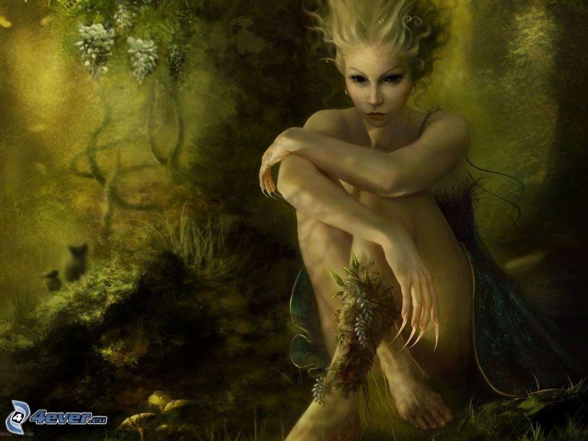 hada en el bosque, hada verde, elf, bosque