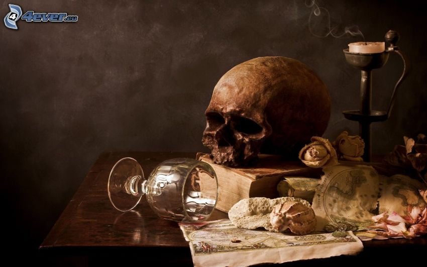 muerte, cráneo, mesa, candelero, copa
