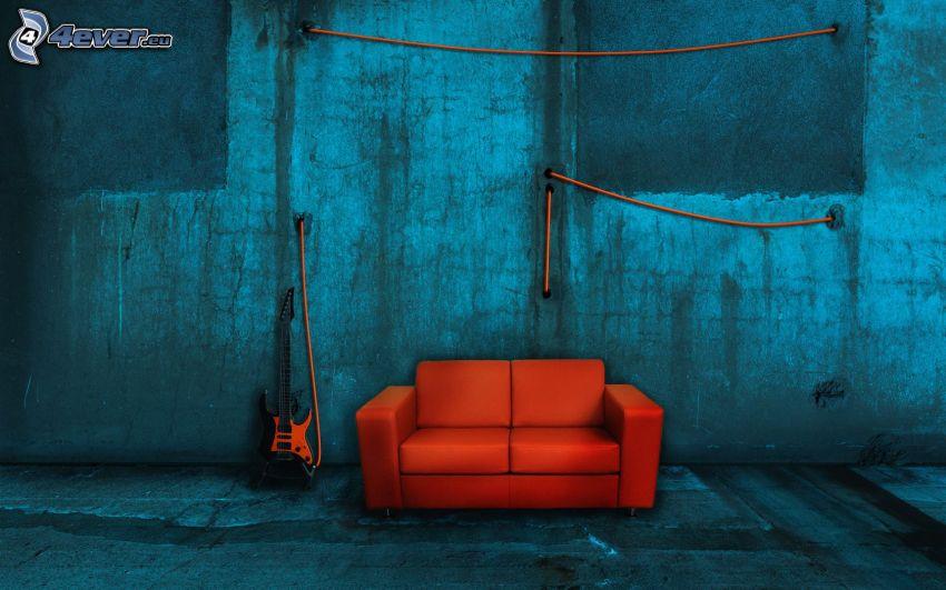 asiento, Guitarra Eléctrica, habitación