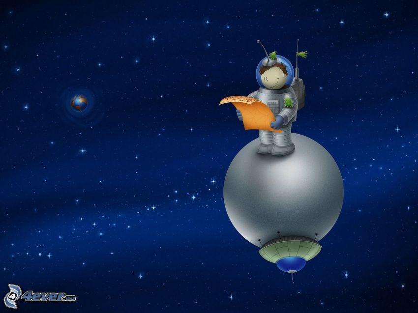 astronauta, universo, Planeta Tierra