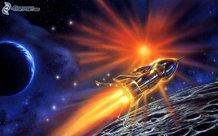 astronave, ciencia ficción, sol, planeta