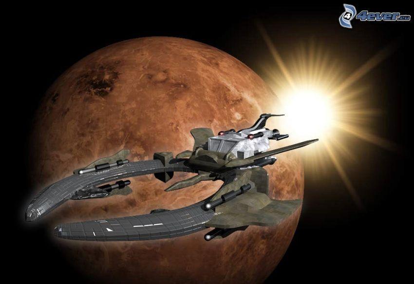 astronave, estrella detrás del planeta, universo, planeta rojo, ciencia ficción