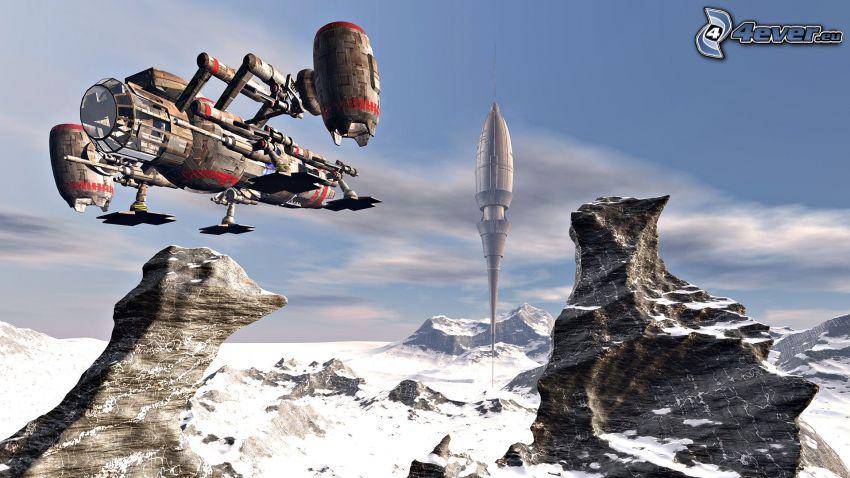 astronave, rocas, nieve, ciencia ficción