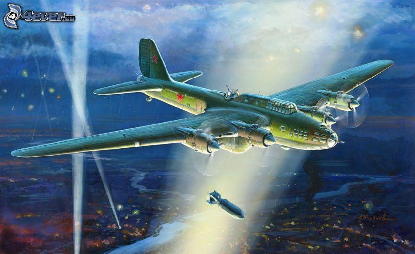 avión, bombardeo, luces