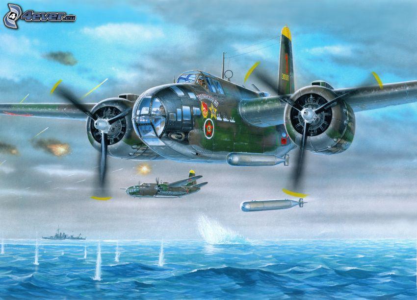 avión, bombardeo, mar